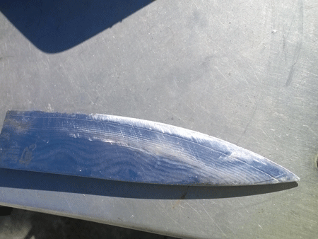 before image of damaged Shun knife